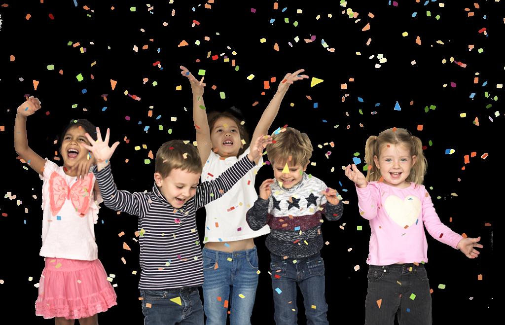 Blije kinderen bij Feestje bij Fem